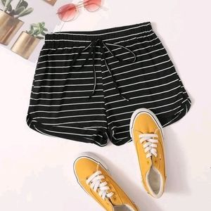 Tie Front  Striped  Dolphin Shorts
